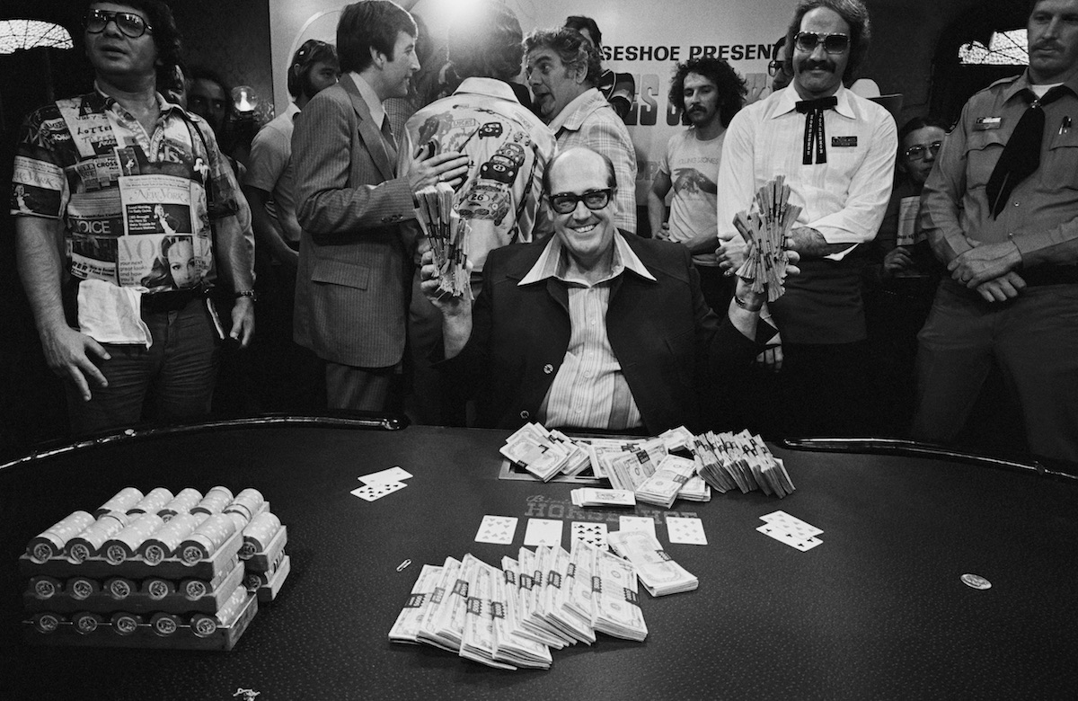 Doyle Brunson after winning the 1977 WSOP Main Event for $340,000. (Photo by Tony Korody/ Getty Images)