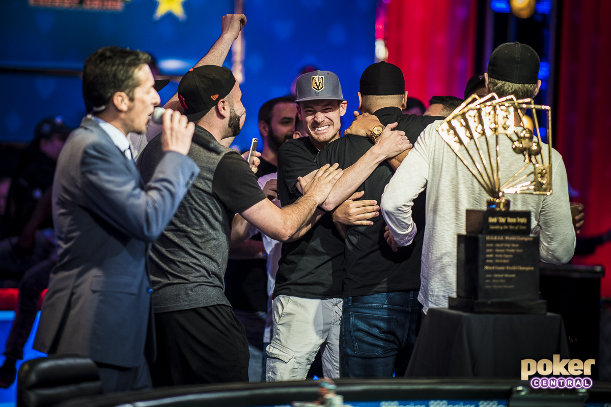 """Friends, fans and family mobbing Michael Mizrachi after winning his third Poker Players Championship title.(Photo: <a href=""""https://www.instagram.com/drew_amato/"""">Drew Amato</a> for Poker Central)"""