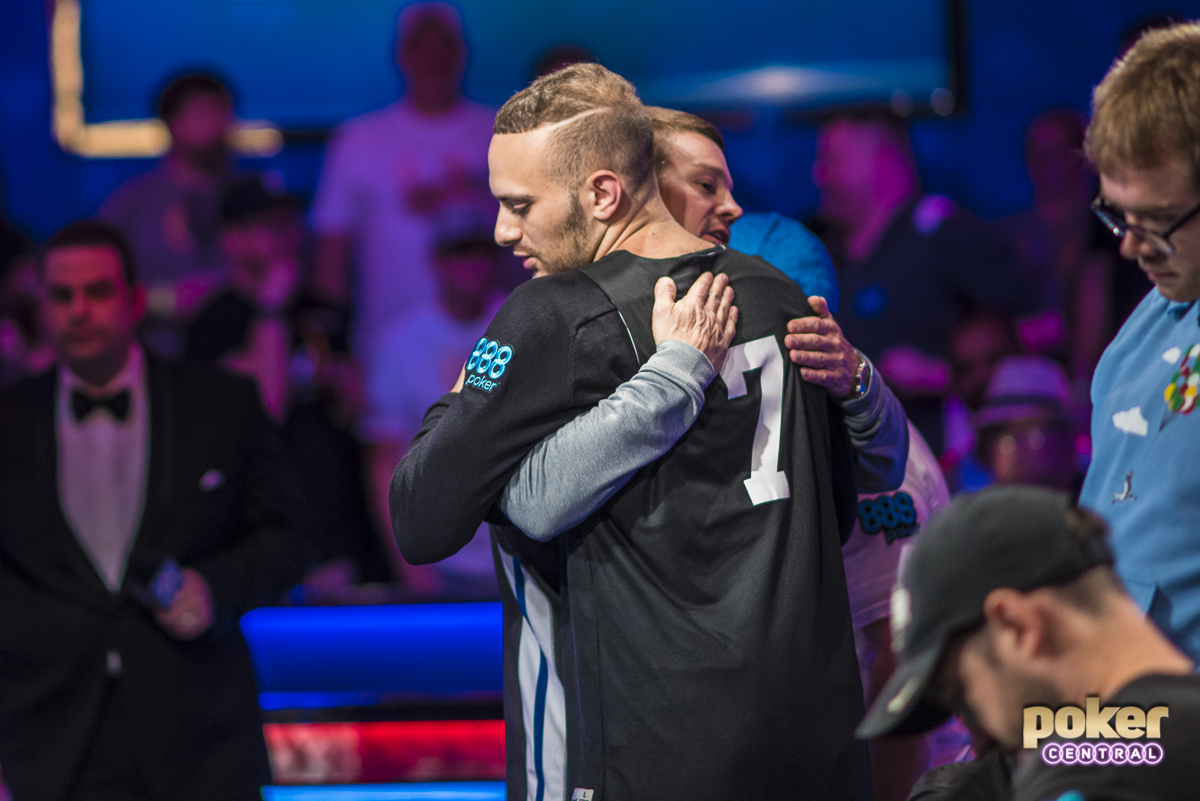 Aram Zobian hugs Tony Miles after getting eliminated in sixth place.