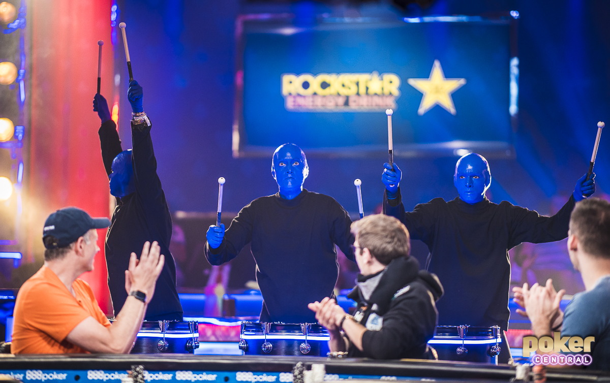 Big One for Blue Men: It still seems crazy that the 2018 WSOP has already come to an end. There was an eerie vibe walking into the Amazon for the Big One for One Drop final table. Everything was gone. Tables moved out of Amazon, the hallways cleared. Only the ESPN main stage and a few media tables were left. Regardless, there was still a final table to be played, as someone was about to leave Vegas with an extra $10 Million. To kick things off the Blue Man Group performed with a couple of their gimmicks, and immediately got the crowd involved in what was about to be a wild final table.