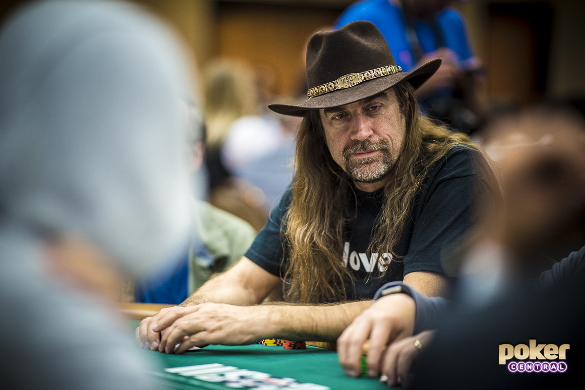 """Also spotted in today's field is the 2017 WSOP Player of the Year, Chris Ferguson. Ferguson has been one of the more polarizing figures in poker these past few years, but nothing can take away from his results the past 12 months. Along with a shirt reading """"LOVE,"""" Ferguson was wearing his signature Cowboy hat, laced out with a WSOP bracelet. He takes a stack of 110,000 into the dinner break."""