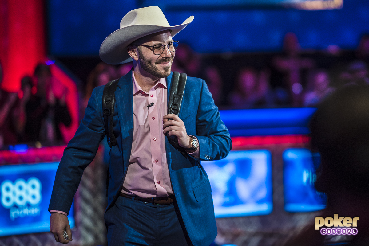 Farewell Cowboy Dan: The double KO left us three-handed with some of the best high rollers in the world. Dan Smith was chasing his first WSOP Bracelet, Justin Bonomo was looking to add to his already historic run in 2018 thus far, and Fedor Holz was ready for another One Drop title after beating Dan Smith heads-up in the High Roller for One Drop in 2016. Three-handed play started with Holz holding roughly two-thirds of the chips in play while Smith was in second, and Bonomo was the shortest of the three with just around 20 big blinds. Bonomo, however, continued to chip up and would eventually end the bracelet hopes of Smith.