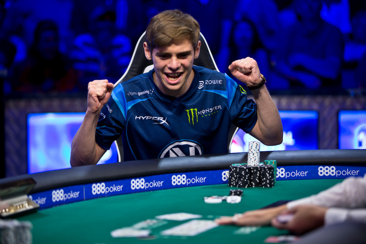 Fedor Holz celebrating the river card that gave him the win in the 2016 High Roller for One Drop, the biggest win of his career for $4.9 million. (Photo: PokerPhotoArchives)