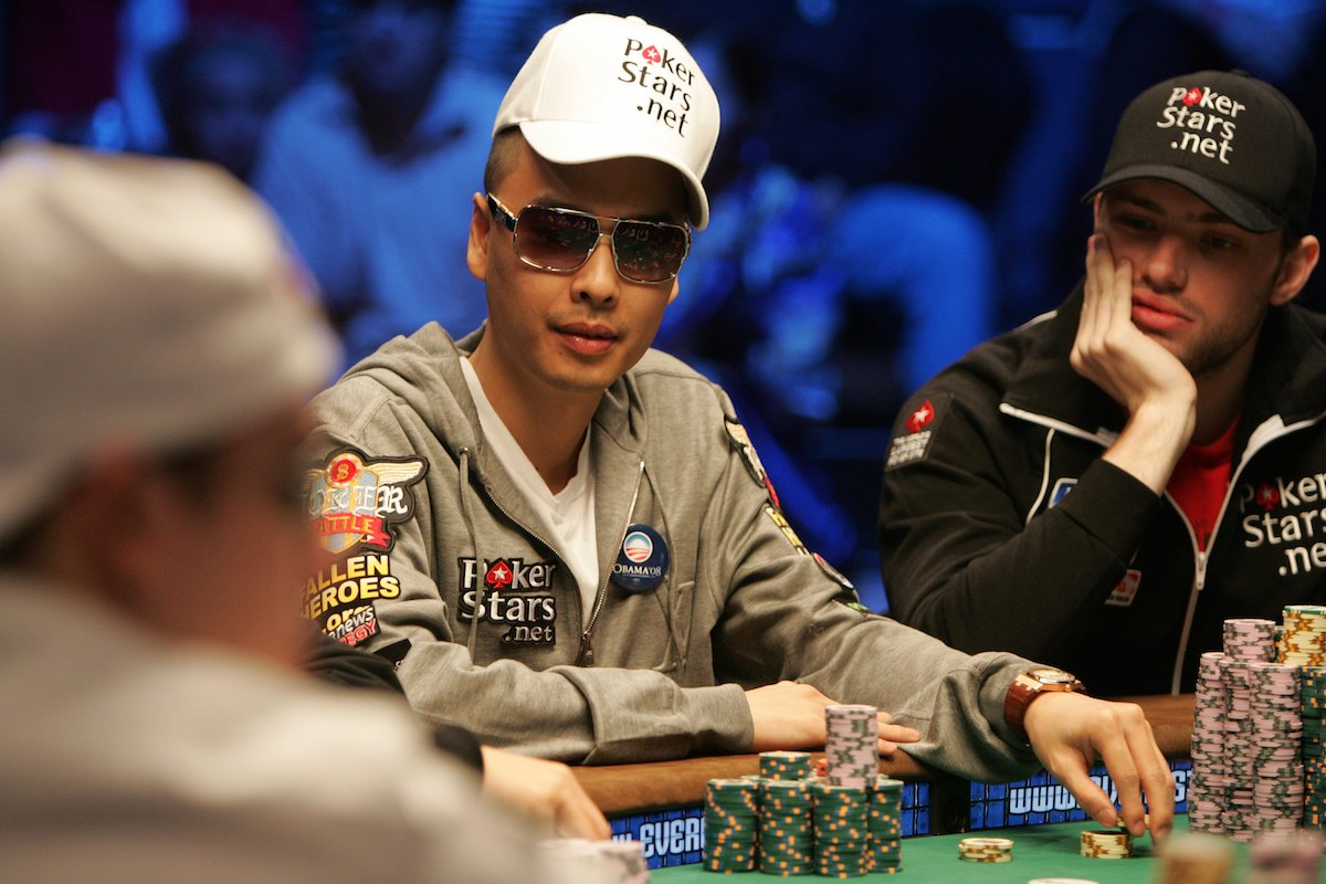 Chino Rheem at the final table of the 2008 WSOP Main Event. (Getty)