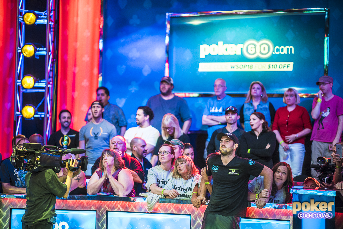 Cada Photos: The biggest story coming into today's Final Table was that 2005 Main Event champion Joe Cada was still in contention. Just 4 people stood between Cada and his 2nd WSOP Main Event title, when one of the biggest hands of the day took place. Cada raised under the gun to 2.2 million and Tony Miles made it 6.9 million on the button. Cada moved all in for 47.65 million and Miles went into the tank for quite a few minutes. Eventually Miles called and we had a good ole' fashion flip for nearly 100,000,000 chips. The flop delivered an ace and just like that Cada's remarkable run came to an end. He quickly exited the Amazon room, avoiding all media, while Miles chipped up to 105,000,000.