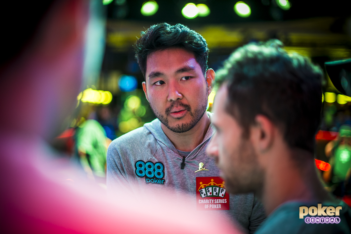 "Cynn on rail: During breaks both players had a few of the top pros on their rail, relaying hands from the stream and discussing the best way to proceed. John Cynn was seen catching up with Dan ""jungleman"" Cates and Ben Lamb, while Tony Miles was often speaking to Shaun Deeb."