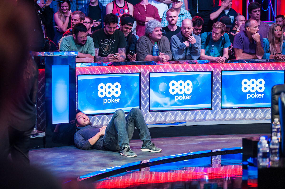 John Cynn, floored by his elimination in 11th place in the 2016 WSOP Main Event. Relive this moment on PokerGO now.