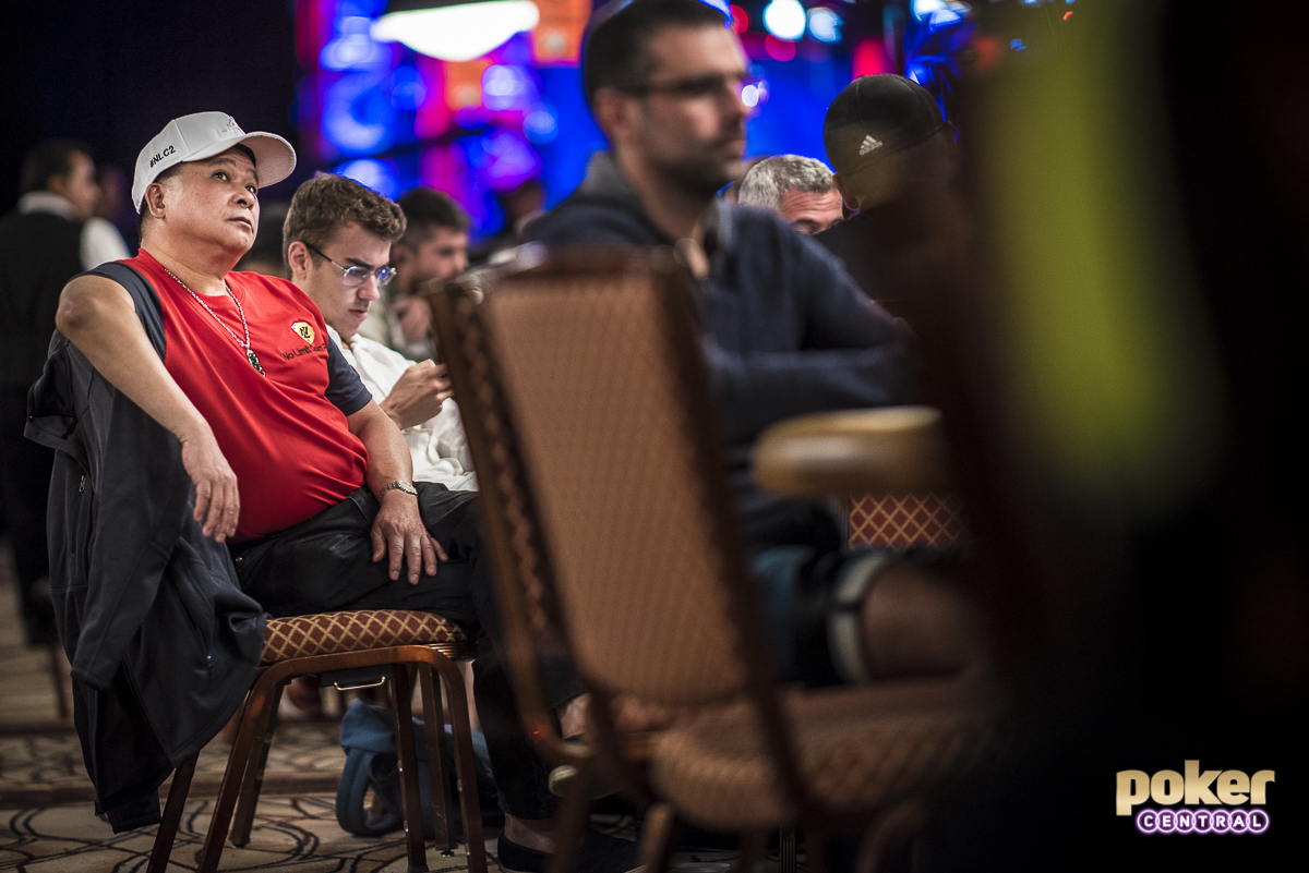 For most poker players, myself included, Rounders is up there as one of the best movies ever made. It's hard to not think back on the scenes involving Johnny Chan, especially with Matt Damon watching potentially one of the most epic hands in this tournament of all time. It's the 1988 WSOP Main Event and Johnny Chan is heads up with Eric Seidel for the title. The board reads Q:clubs: 8:diamonds: T:hearts: 2:spades:and Johnny Chan checks behind on the turn. Seidel, holding Q:clubs: 7:hearts: moves all in on the 6:diamonds: river, only to get snapped off by Chan's J:clubs: 9:clubs:. The perfect trap.  Chan is up to some of his old tricks today as well, as the 10-time WSOP Bracelet winner currently sits with a top 10 stack heading to dinner.