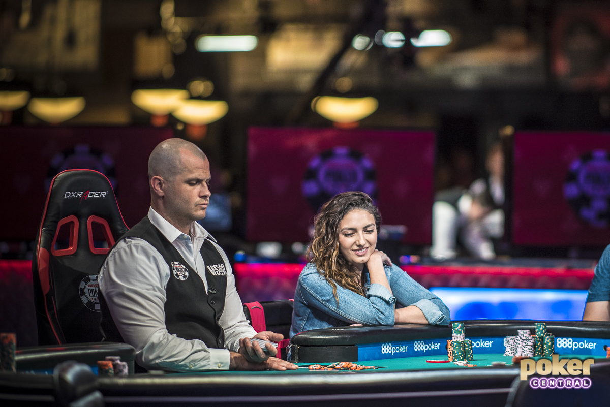 It was a fun and wild ride, but the last woman standing in the 2018 Main Event has been eliminated. Kelly Minkin came into the day hovering around 20bb, and never seems to gain any traction. On her final hand she got into a button vs small blind confrontation, putting the last of it in holding ace-ten against the ace-king of Frederik Jensen. Minkin failed to improve and was eliminated in 50th place. Despite the elimination, Minkin was all smiles as she walked out of the Rio one last time, followed by her closest fan, her father.