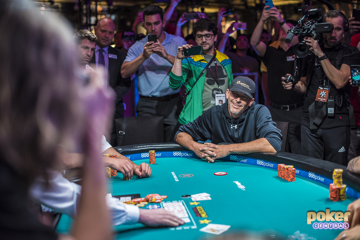 (Two photos for this one as well) Matthew Hopkins is the 2018 World Series of Poker Main Event bubble boy. Hopkins was all in and at risk holding ace-five against the ace-queen of his opponent. Unfortunately for Hopkins he was unable to improve and was eliminated in 1183rd place, taking home nothing but a story. Luckily for Hopkins, as is tradition at the WSOP, he will be awarded a $10,000 seat into next years main event. He took the bubble in good spirit, and shoot Jack's hand before exiting the tournament area.