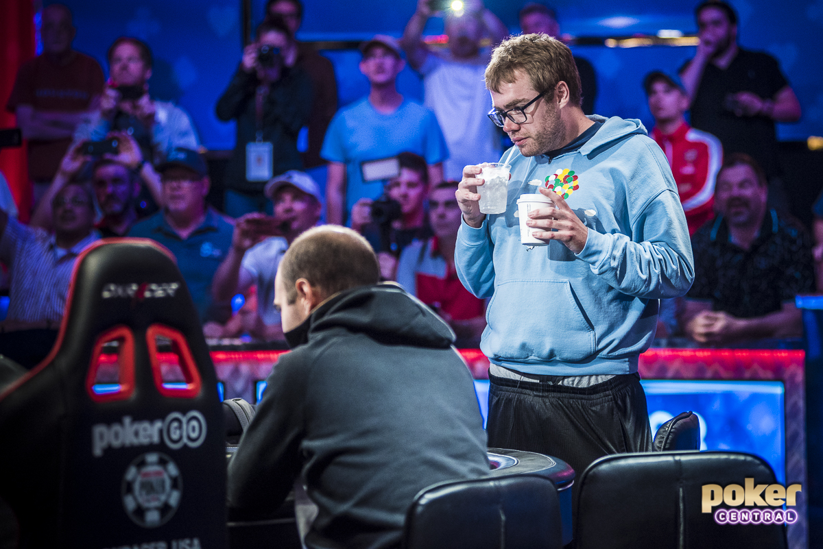 It amazes me that no matter how deep into this tournament we get, and how high the stakes may be, Michael Dyer is as cool as can be. Dyer has less than $100,000 in lifetime earnings, yet with millions on the line has kept the composure of a seasoned pro. During the last hand of play, a crazy three-way all-in, Dyer casually walked over to a cocktail server, picked up a coffee and a glass of water, and walked back over to see what was up. I couldn't help but laugh as I shot this photo.
