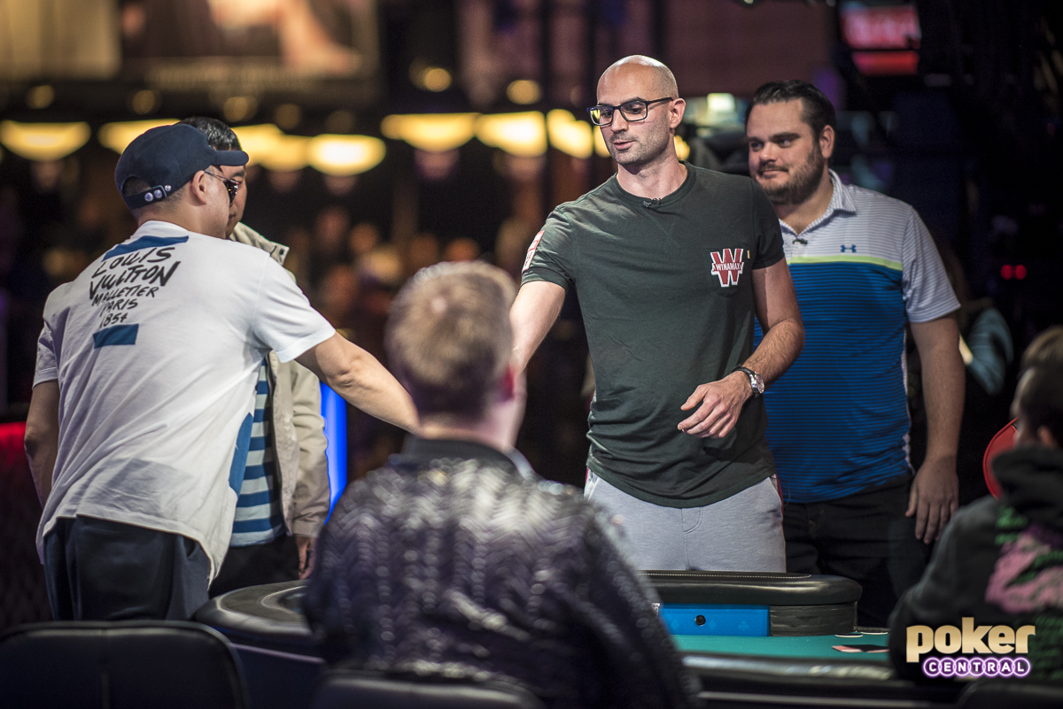 The hope of the French is down to a single player as Sylvain Loosli exited in 18th place. Loosli finished fourth in the 2013 Main Event for $2.7 million and added $375,000 to his tournament earnings after exiting the tournament on Day 7 this year.