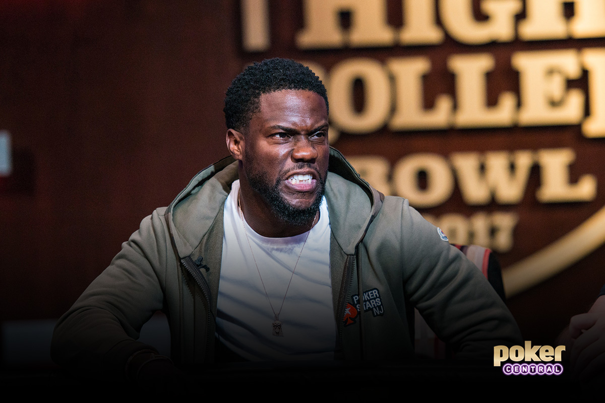 Kevin Hart showing his game face during the 2017 Super High Roller Bowl.