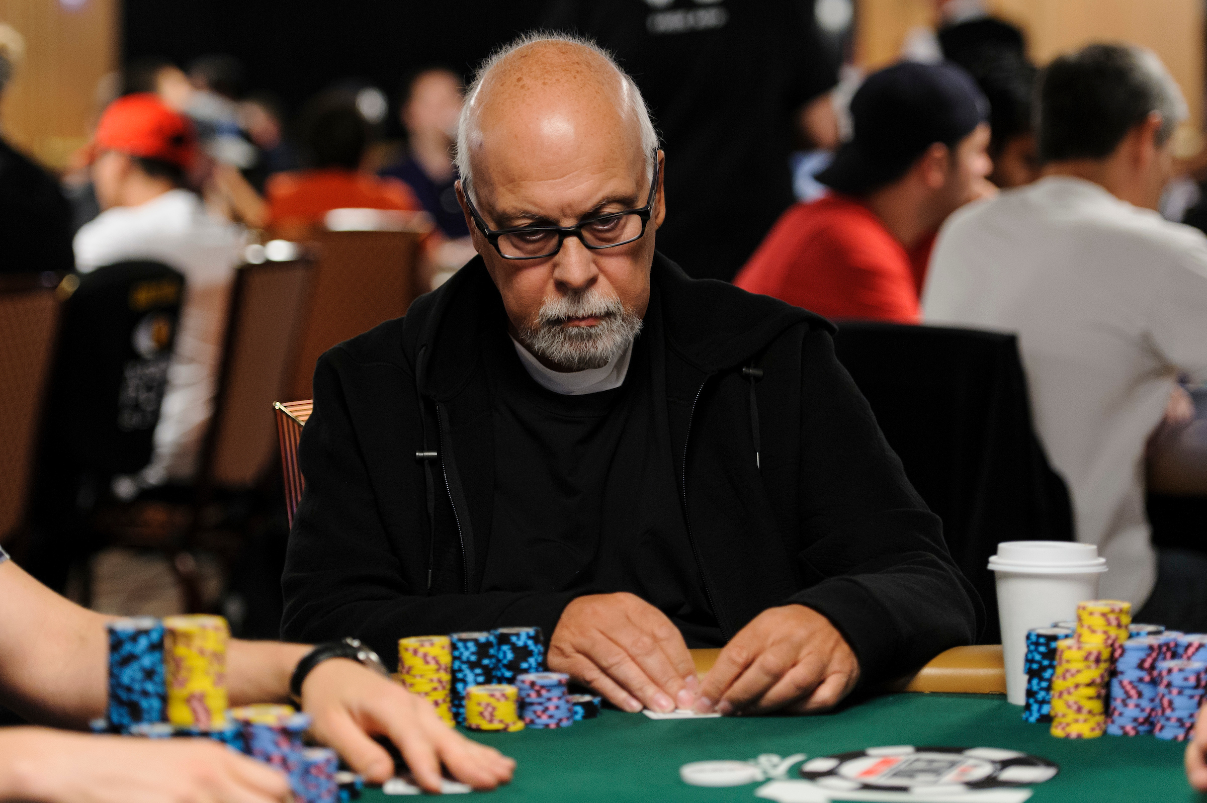 Rene Angelil in action during the 2014 World Series of Poker.
