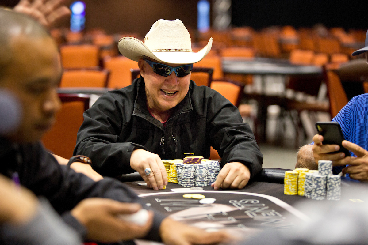 Stacey Jones was loving his life on his way to the WPT Choctaw final table! (Photo: PokerPhotoArchive.com)