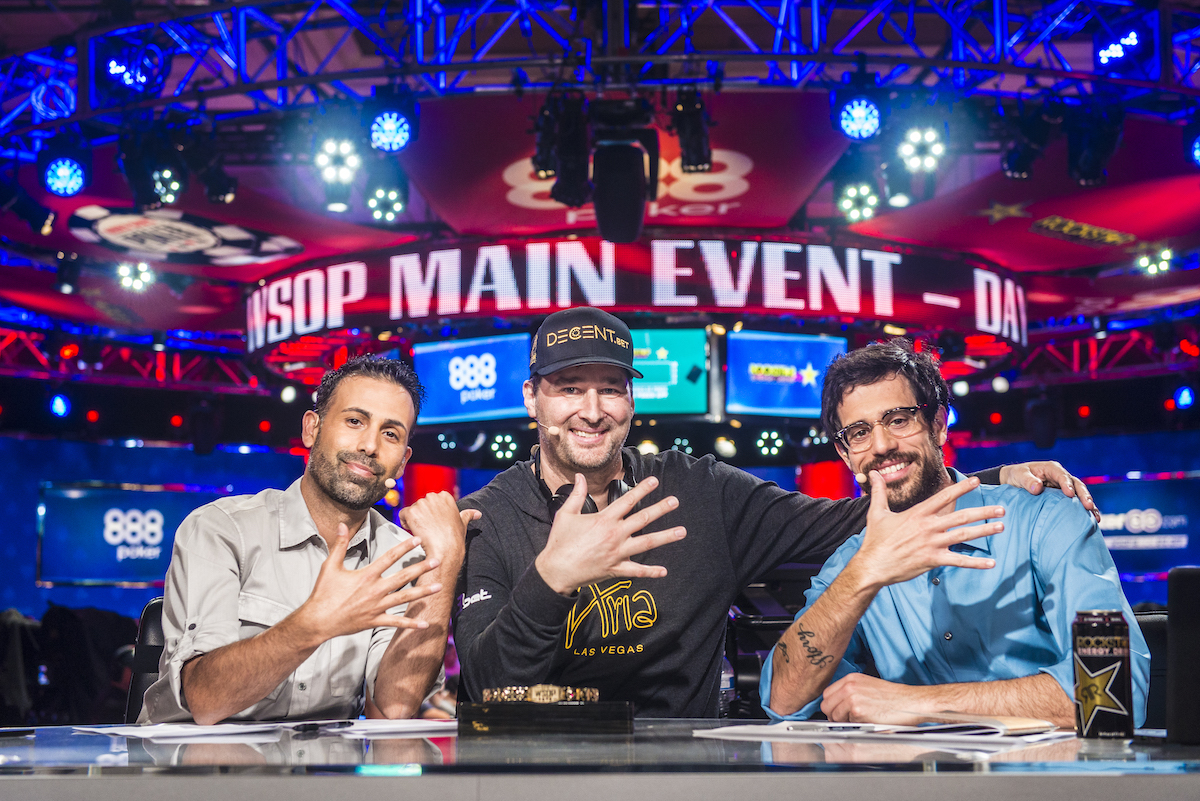 Phil Hellmuth flanked by Ali Nejad and Nick Schulman moments after winning his 15th WSOP bracelet.