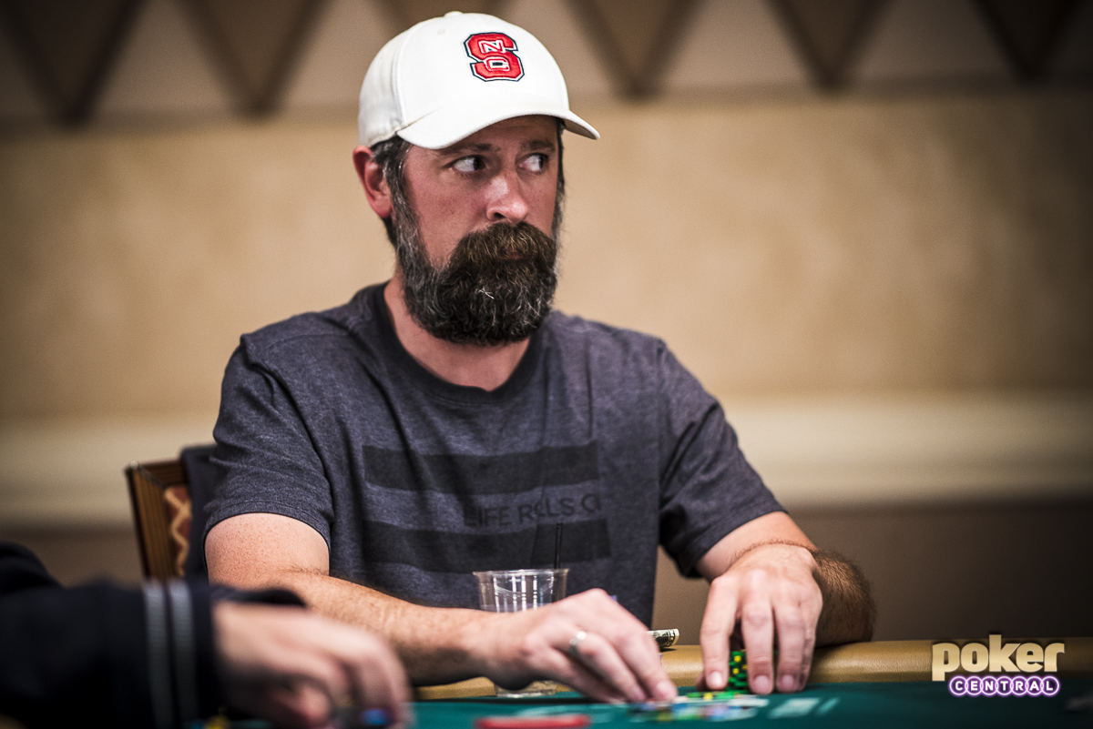 Justin Young, focused and determined during the 2018 WSOP.