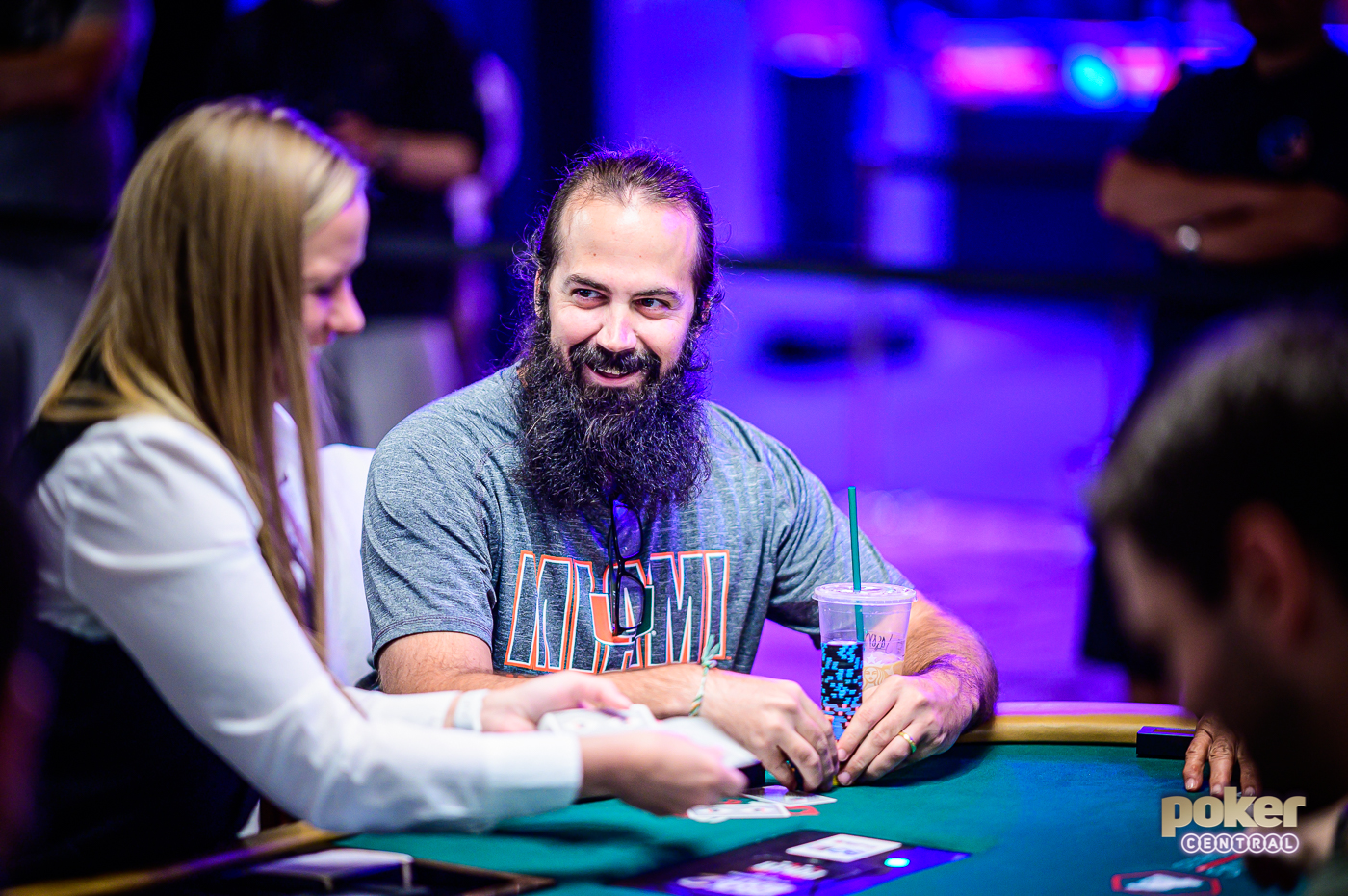Jason Mercier all smiles playing the 2019 $50,000 Poker Players Championship.