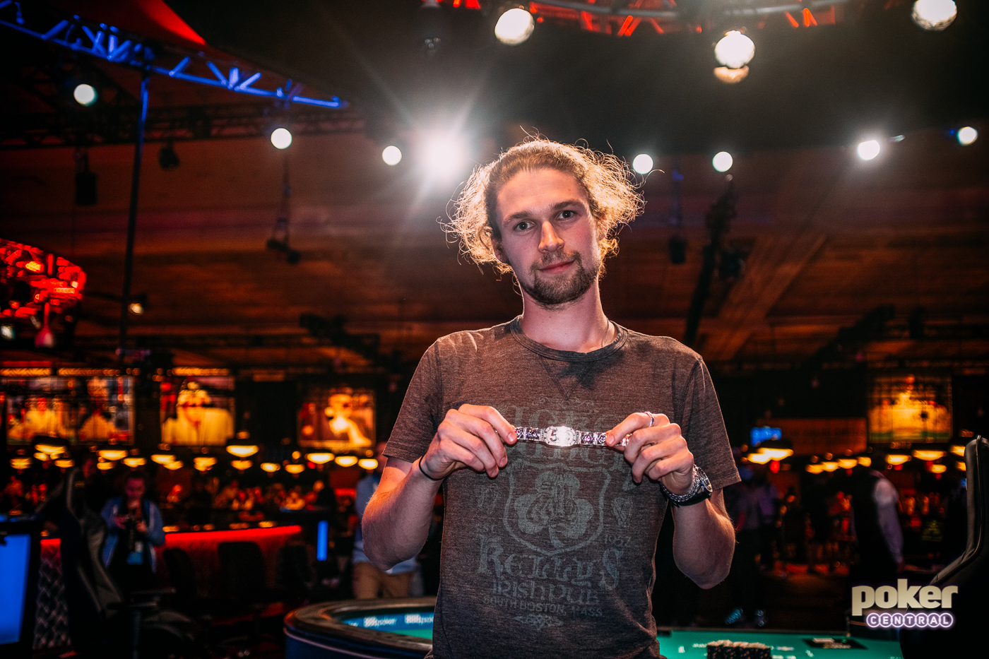 Ben Heath showing off the gold after winning his first WSOP bracelet in the $50k High Roller.