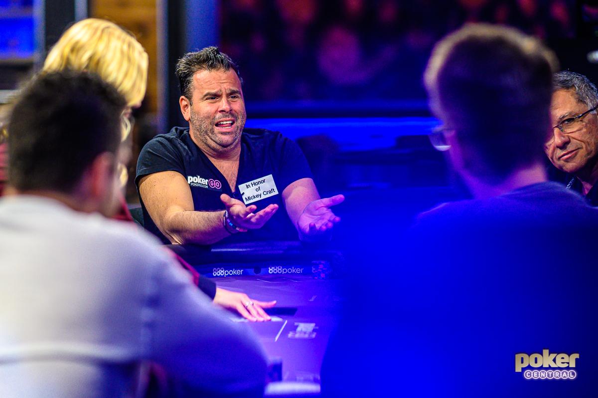 Randall Emmett's animated style on full display during Poker After Dark inside the PokerGO Studio.