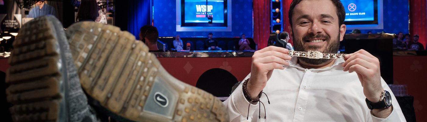 Anthony Zinno has his feet up and the second bracelet of his WSOP poker career at the 2019 WSOP.
