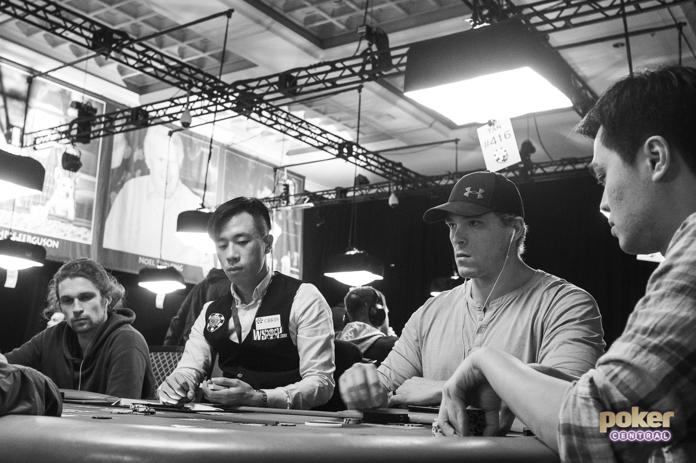 In position versus Ben Heath, Alex Foxen looks focused during Day 1 of the $50,000 High Roller at the WSOP.