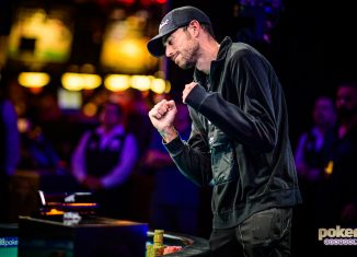 Nick Schulman celebrates winning his third career WSOP bracelet at the 2019 World Series of Poker.