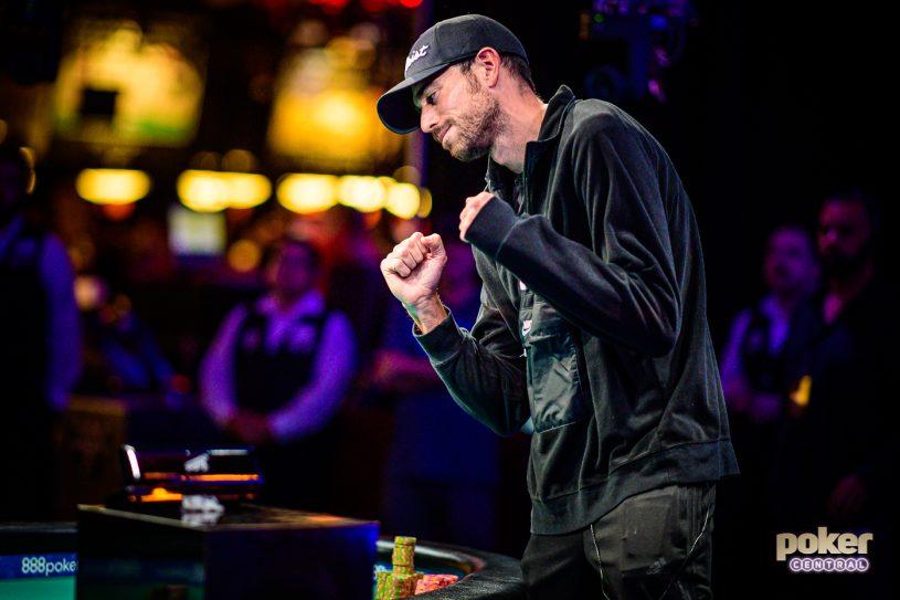 Nick Schulman celebrates winning his third career WSOP bracelet at the 2019 World Series of Poker.
