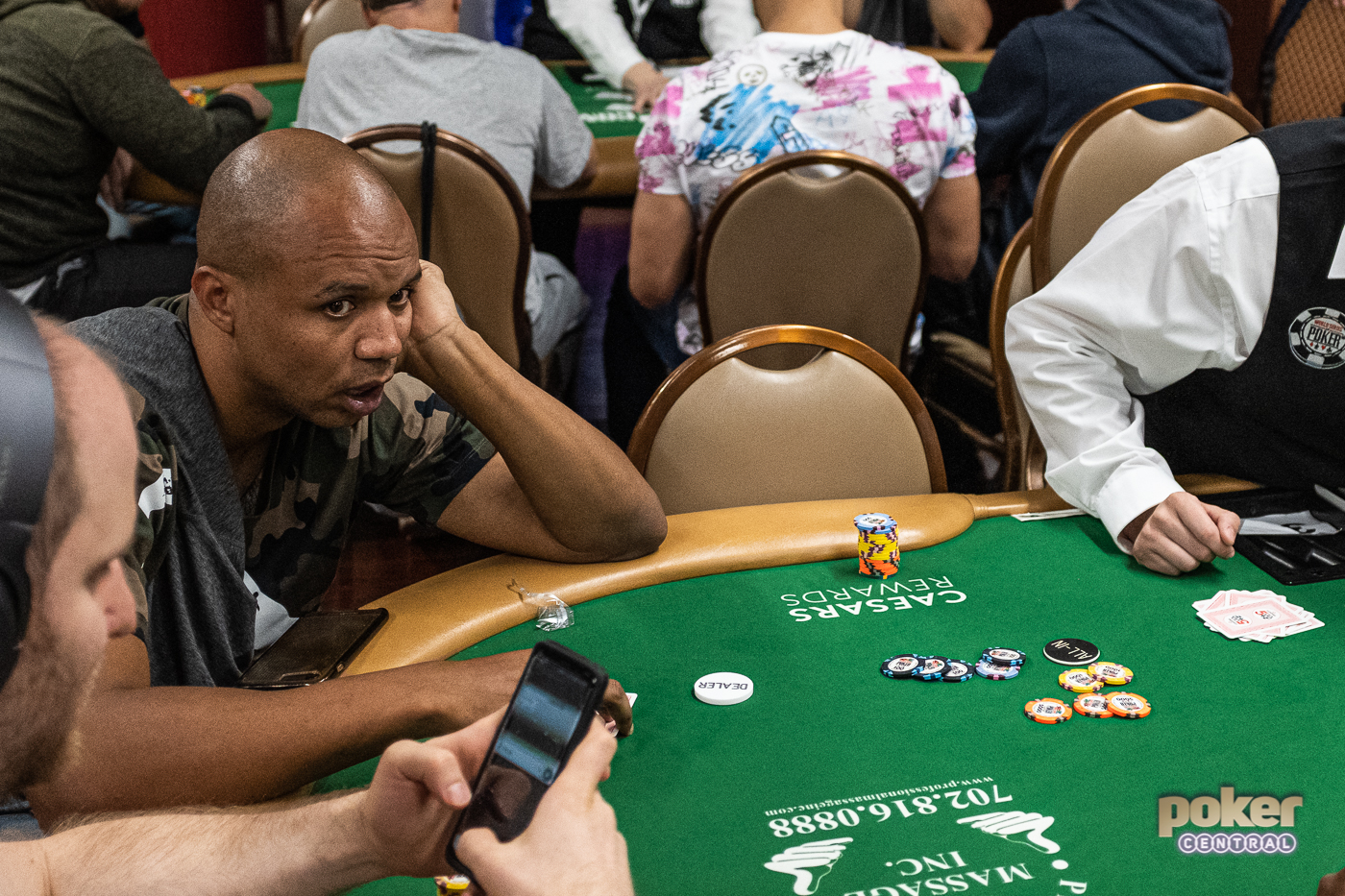 Phil Ivey all in and at risk in the first level of the 2019 WSOP Main Event.