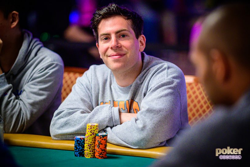 Hoodie Allen all smiles in the 2019 WSOP Main Event.