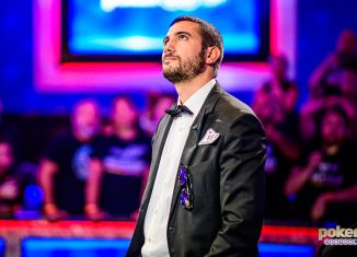 Dario Sammartino awaits the river card on the hand that ended the 2019 WSOP Main Event.