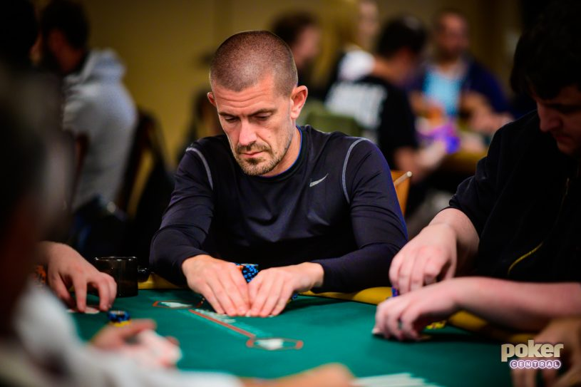 Gus Hansen in action during Day 2c of the WSOP Main Event.