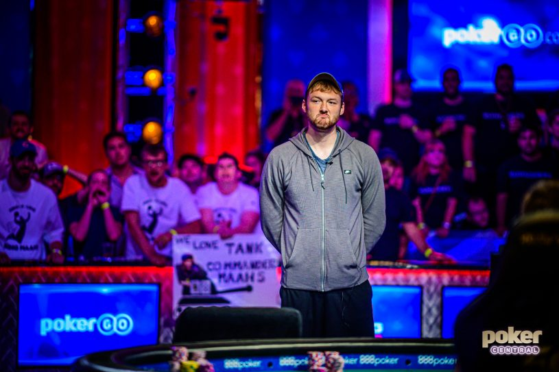 Kevin Maahs realizing that his WSOP Main Event dream would end in 5th place for $2.2 million.