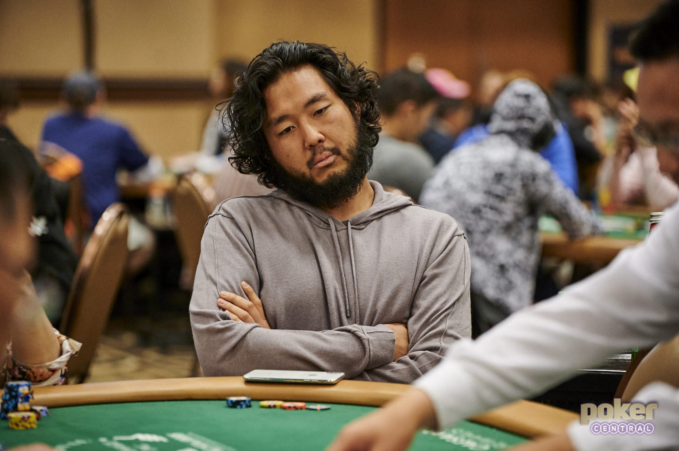 Defending champion John Cynn in action during Day 1c of the WSOP Main Event.