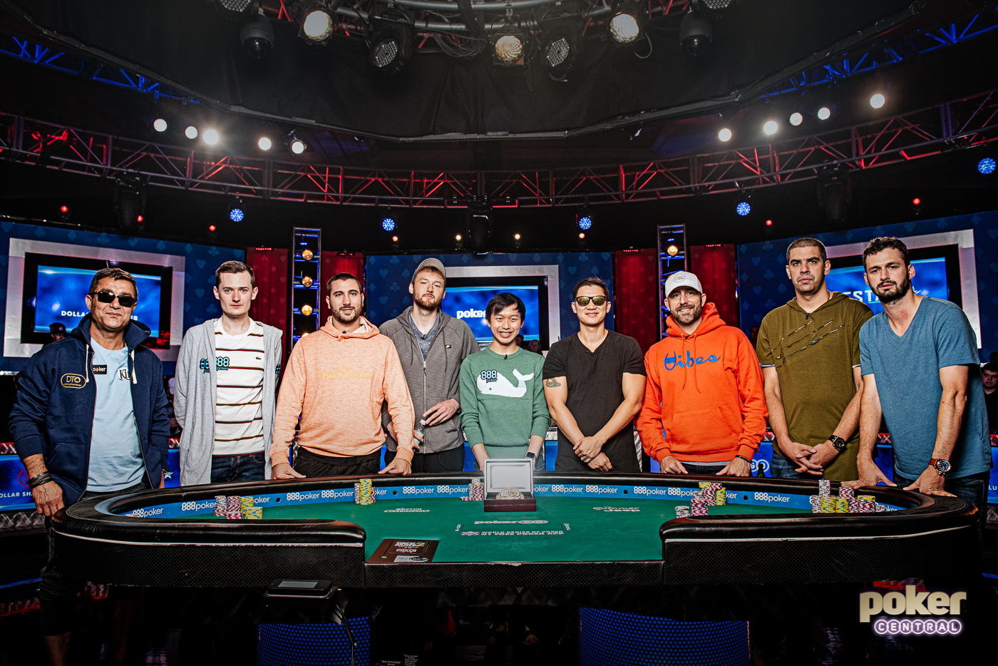 The 2019 WSOP Main Event finalist, from left to right: Hossein Ensan, Nick Marchington, Dario Sammartino, Kevin Maahs, Timothy Su, Zhen Chai, Garryy Gates, Milos Skrbic, and Alex Livingston.