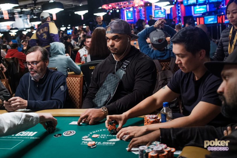 Richard Seymour just prior to getting eliminated from the 2019 WSOP Main Event.