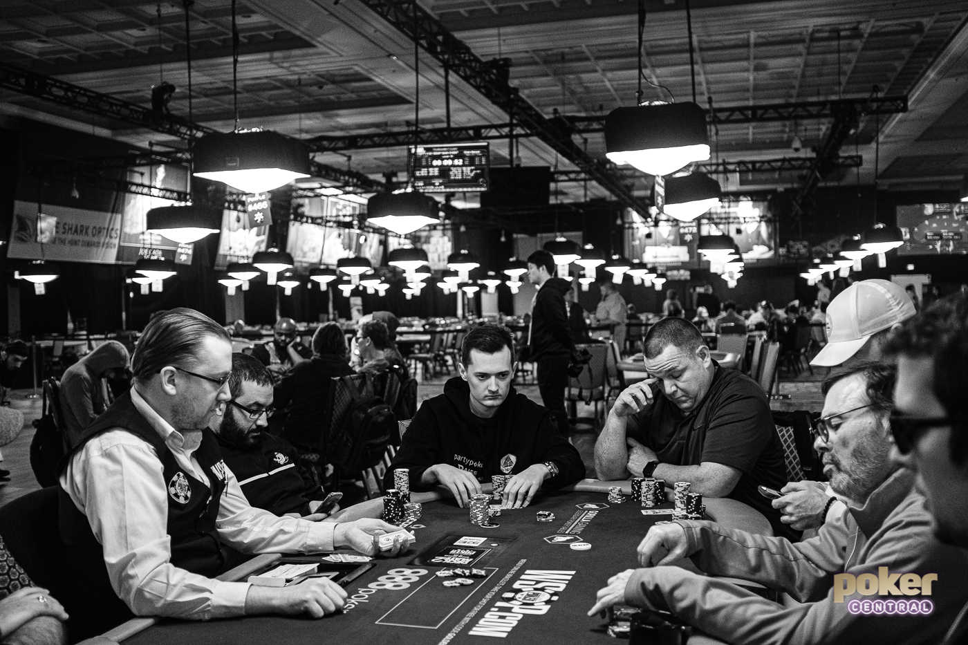 Nick Marchington in action during Day 6 of the 2019 WSOP Main Event.
