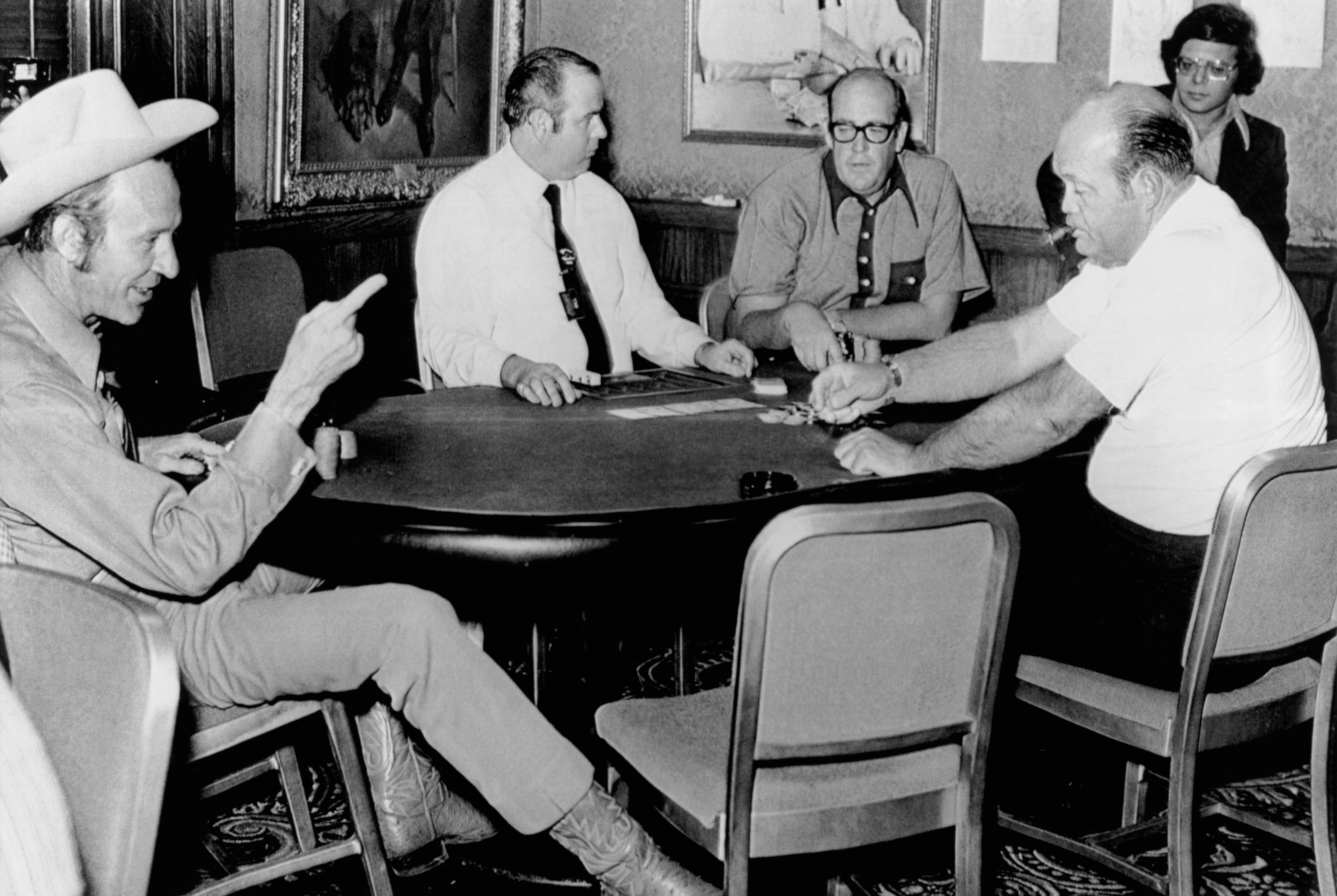 May 18 1972: Amarillo Slim, Puggy Pearson, and Doyle Brunson three handed for the WSOP Main Event title. (Image: Getty Images)