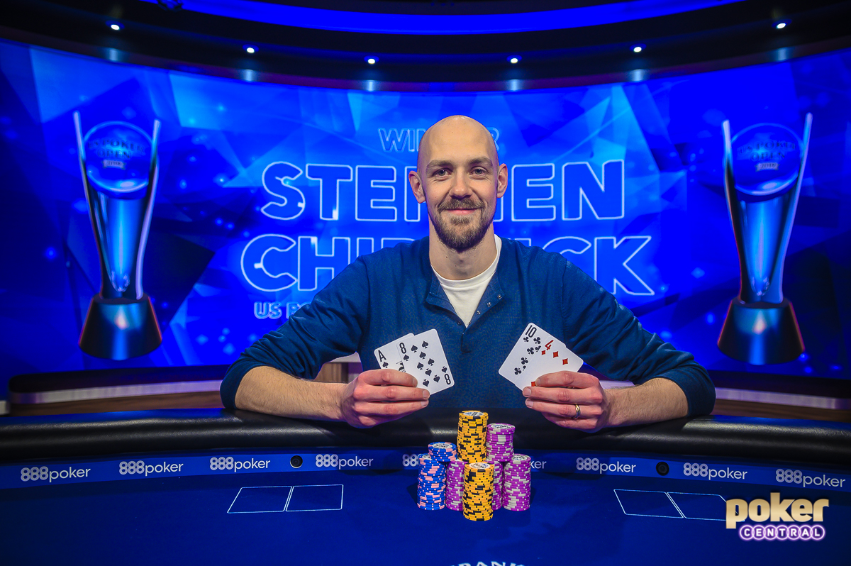 Stephen Chidwick after winning the 2019 U.S. Poker Open Pot Limit Omaha event.