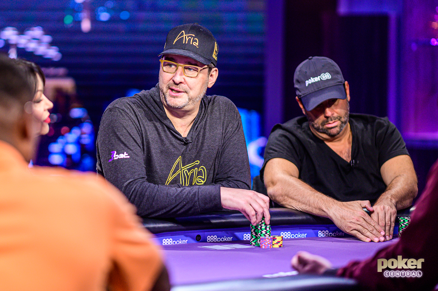 Phil Hellmuth flanked by Randall Emmett on Poker After Dark GOAT Week featuring Paul Pierce.