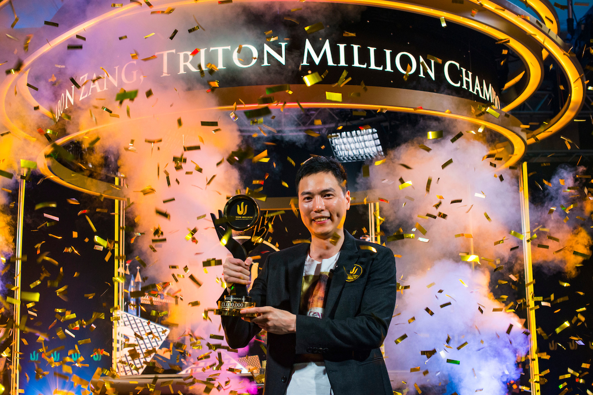 Aaron Zang celebrates winning the largest prize in poker history in the Triton Million for £19 million! (Photo: PokerPhotoArchive/Joe Giron)