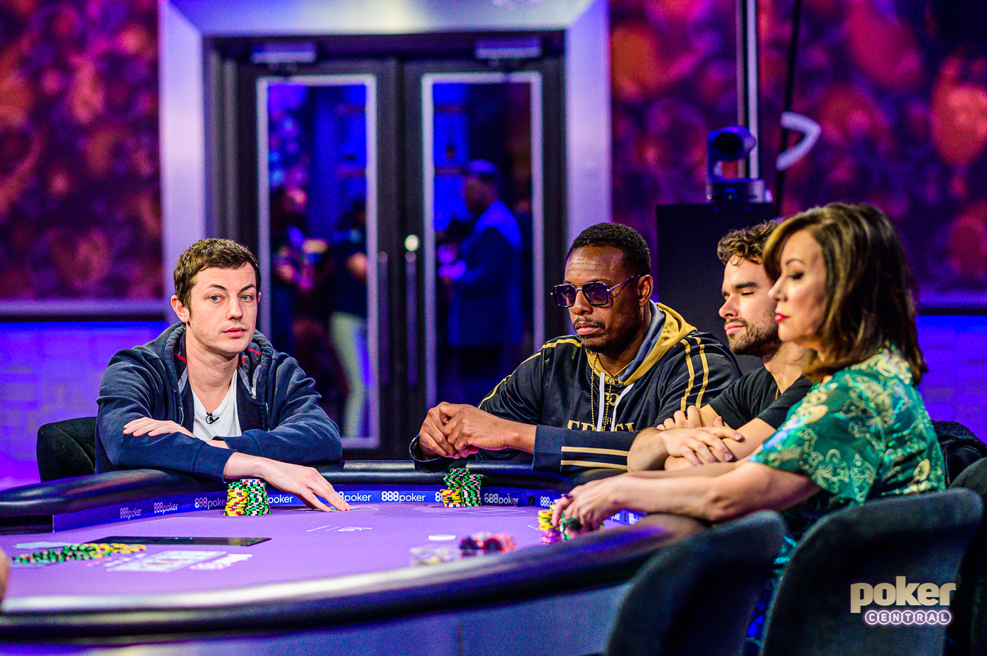 "Tom Dwan facing off against Paul Pierce, Alan Keating, and Jennifer Tilly on Poker After Dark ""GOAT Week."""