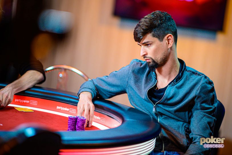 Spanish crusher Sergi Reixach in deep thought during the British Poker Open Event #6 final table.