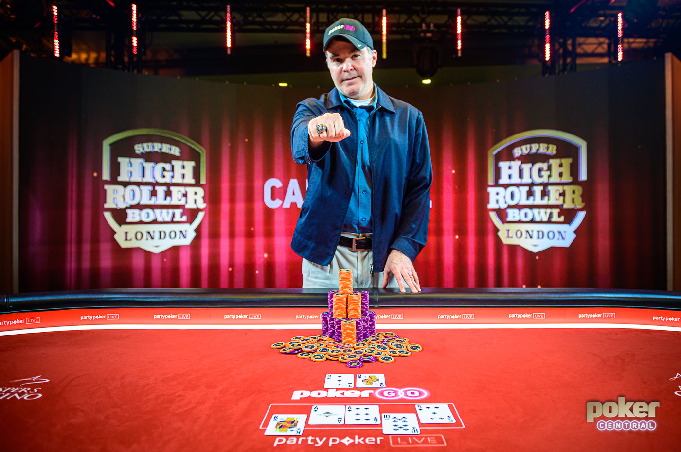 Cary Katz proudly wears the Super High Roller Bowl London ring after taking down the event for £2.1 million.