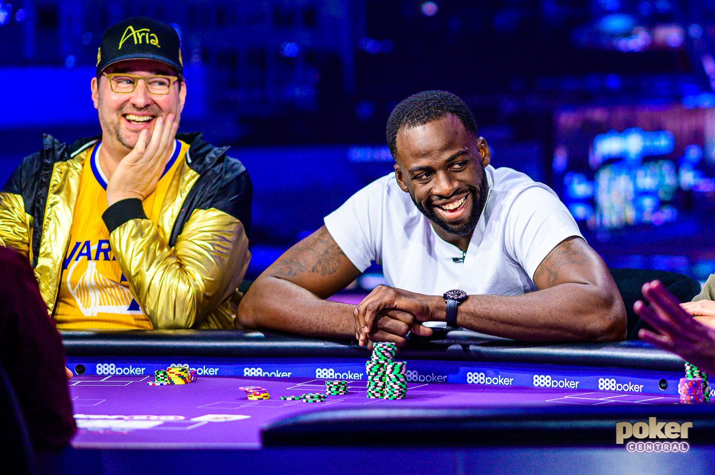 Phil Hellmuth and Draymond Green side by side battling it out on Poker After Dark.
