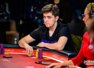 Reigning Poker Masters champion Ali Imsirovic at the Super High Roller Bowl London final table.