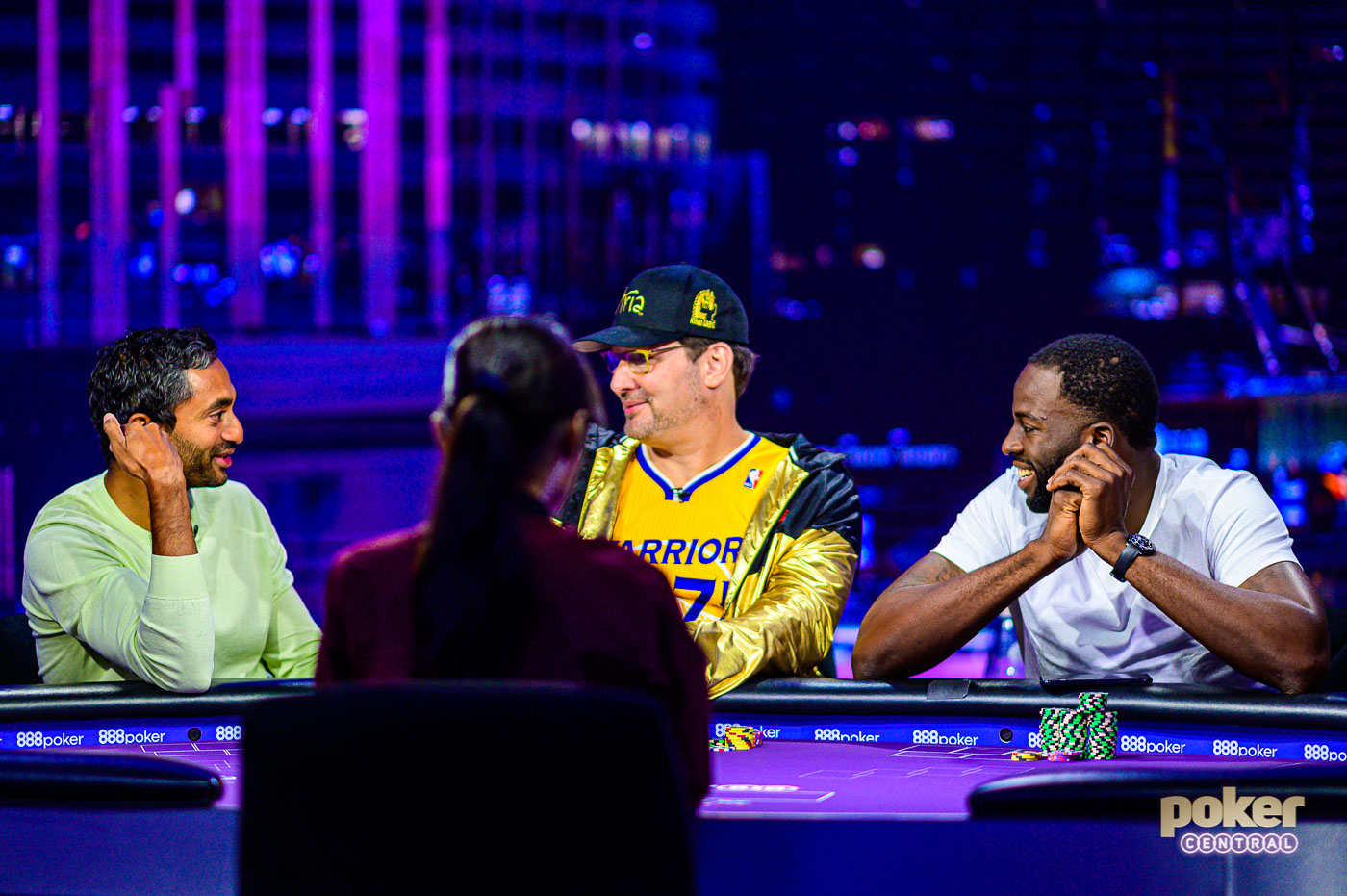 Chamath Palihapitiya, Phil Hellmuth, and Draymond Green having a blast on Poker After Dark.