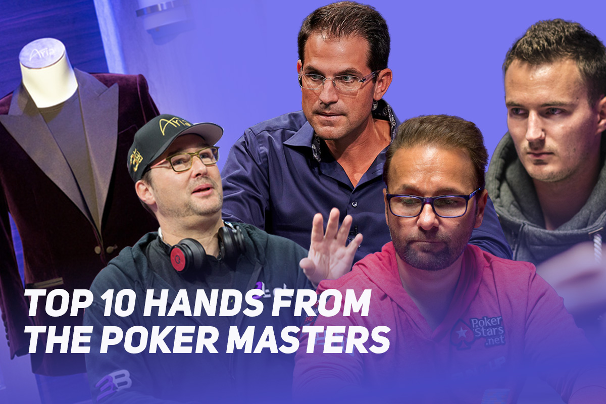 Phil Hellmuth, Brandon Adams, Steffen Sontheimer, and Daniel Negreanu are involved in the Top 10 Poker Masters hands of all time.