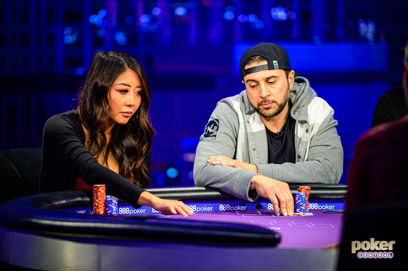 Maria Ho squaring off with Woody Kawaar on Poker After Dark Showbound week.