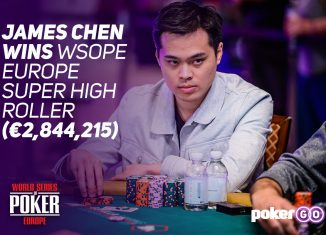 James Chen wins World Series of Poker Europe Super High Roller bracelet event for €2.8 million.